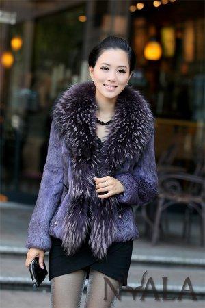 REAL raccoon COLLAR+ rabbit fur WOMEN DELUXE jacket P05
