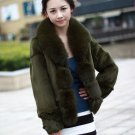 real fox collar+rabbit fur Coat P06