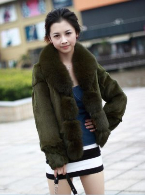 real fox collar+rabbit fur Coat P06