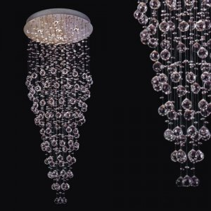 "Modern Crystal Chandelier 61""L 5 lights RAIN DROP"