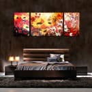 ORIGINAL KNIFE oil PAINTING COLORFUL Flowers 3 panel set total 26&quot; H x 70&quot; L