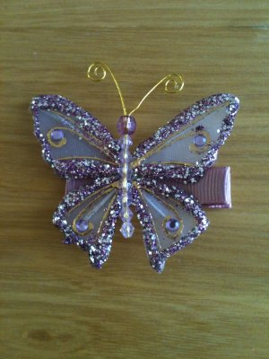 MAUVE & GOLD LARGE BUTTERFLY