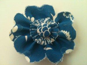 BLUE & WHITE FABRIC FLOWER