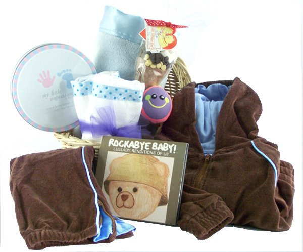 Buy pipes gift baskets. - Hip Too Cool Deluxe Baby Basket White piping ~ Size 6 to 12 months