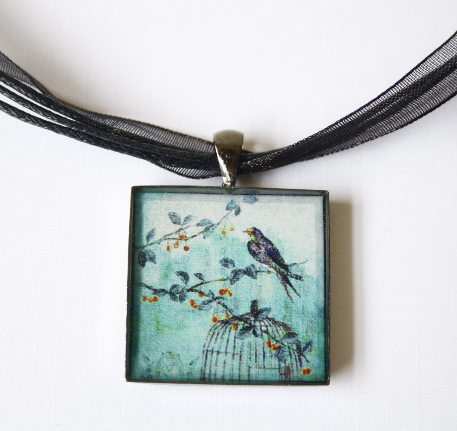 Turquoise Jewellery Bird Cage Resin (glass like) Square Pendant w Black Ribbon necklace