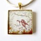 3 lil birds Gold Square Pendant w Satin Necklace Bird Necklace