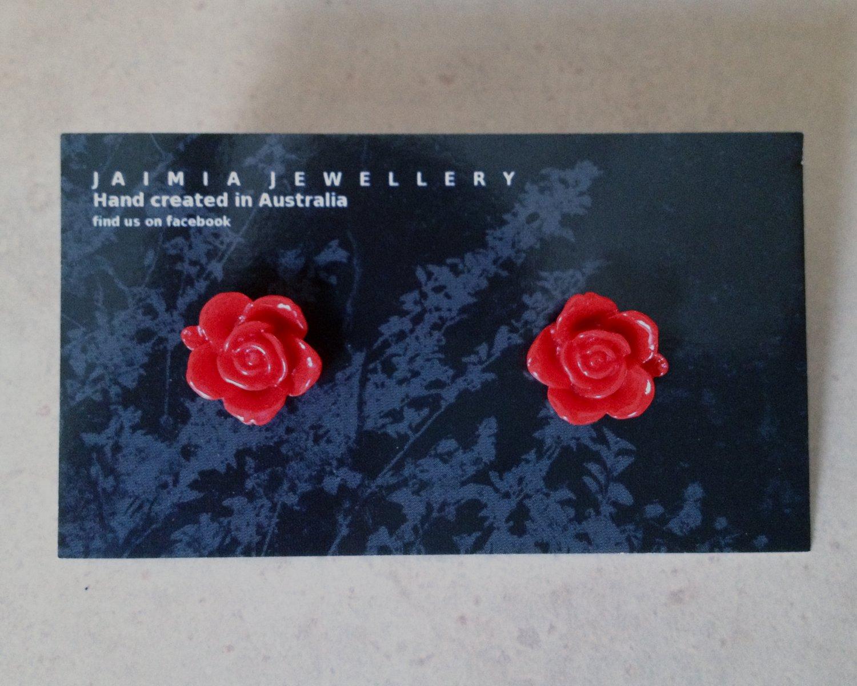 Deep Red Rose Stud Earrings by Jaimia Jewellery