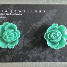 Turquoise Rose Stud Earrings by Jaimia Jewellery