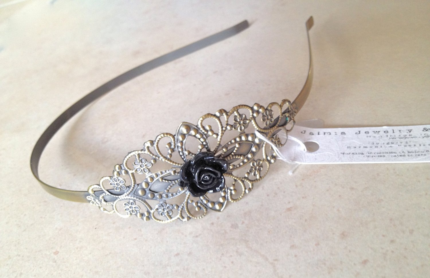 Black Head band w Rose Vintage Style Floral Metal Headband