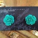 Turquoise Aqua Flower Stud Earrings by Aus Made Jaimia Jewellery