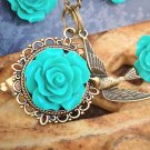 Turquiose Aqua Bronze Old Gold Necklace w Bird Charm by Aus Made Jaimia Jewellery