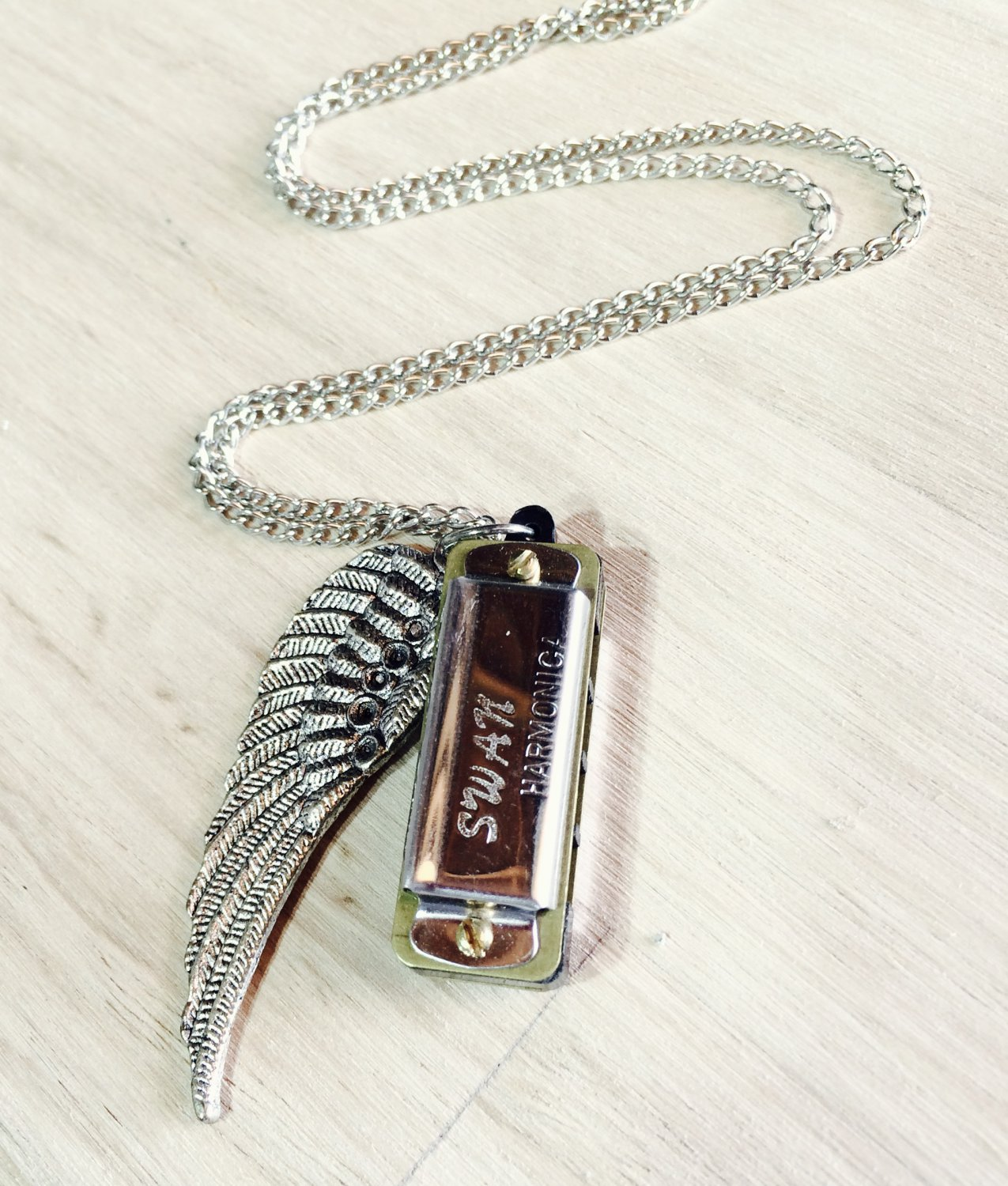 Silver Mini Harmonica Necklace w Bird Wing Charm Necklace