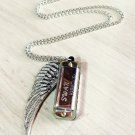 Silver Mini Harmonica Necklace w Bird Wing Charm Necklace
