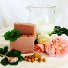 Rose Geranium Handmade Soap with Almond Milk, Pink Clay & Essential Oil
