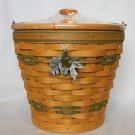 Longaberger Autumn Pail Sage Basket w/ Protector, Pumpkin Lid & Leaf/Acorn Tie-On