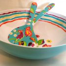 Longaberger Summer Lovin' Large Salad Bowl & Tongs (Melamine)