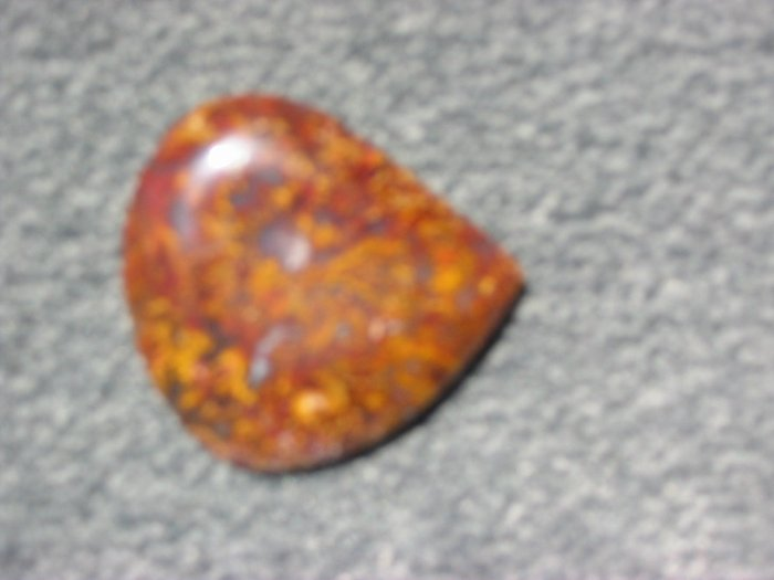 Texas plume agate freeform cab red and gold