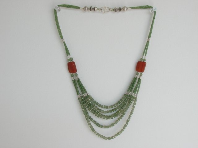 Ethnic Vintage East Indian Jade Silver Necklace