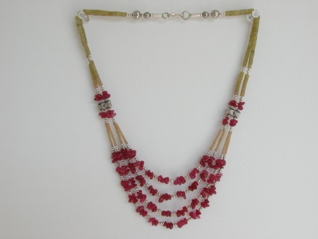 Ethnic Vintage East Indian Jade & Silver Necklace