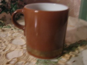 Pyrex Coffee Cup Vintage Mug Brown Burnt Umber Gold Band