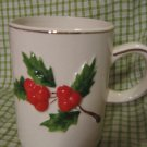 Christmas Dimensional Holly Berry Vintage Mugs set 4 Coffee Cup