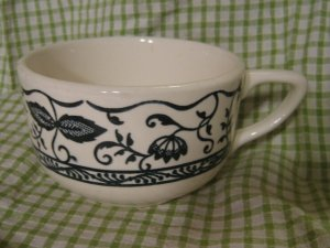 Vintage Blue onion Transfer ware Buffalo China Coffee Cup