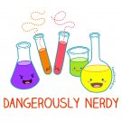 Ladies&#39; T-Shirt - Size XL - White - Dangerously Nerdy Science Shirt - Kawaii Chemistry