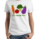 Ladies' T-Shirt - Size S - White - Personalized Kawaii Vegetables