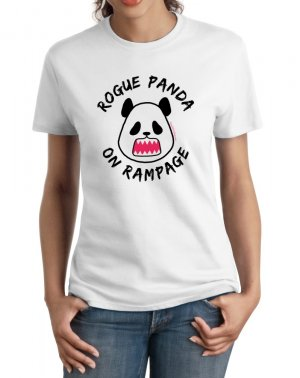 Ladies' T-Shirt - Size S - White - Kawaii Rogue Panda