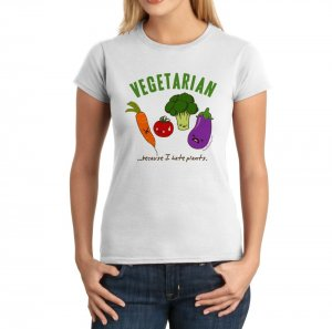 Junior Fit Ladies' T-Shirt - Size M - White - Kawaii Vegetarian
