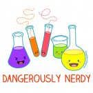 Junior Fit Ladies' T-Shirt - Size XL - White - Dangerously Nerdy Science Shirt - Kawaii Chemistry