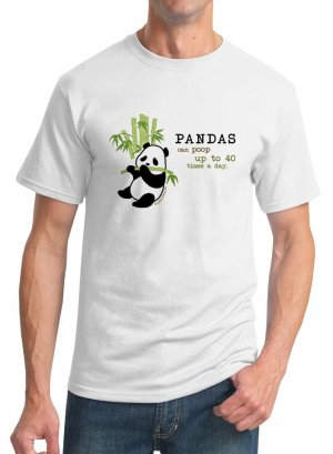 Kawaii T-Shirt - Size L - Unisex White - Pandas Can Poop