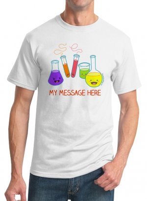 Personalized Kawaii T-Shirt - Size M - Unisex White - Chemistry Glassware