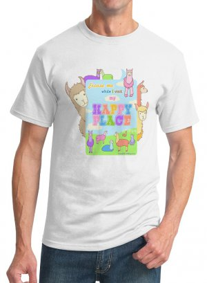 Kawaii T-Shirt - Size M - Unisex White - Llamas Happy Place