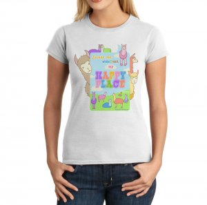 Junior Fit Ladies' T-Shirt - Size S - White - Kawaii Llamas Happy Place