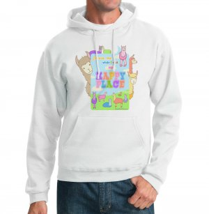 Kawaii Hoodie - Size L - White - Llamas Happy Place Sweatshirt