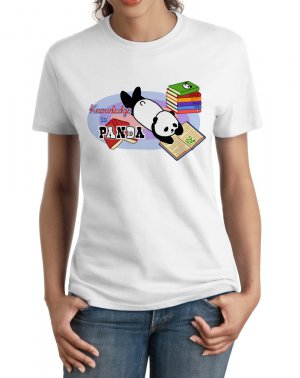Ladies' T-Shirt - Size L - White - Kawaii Knowledge is Panda