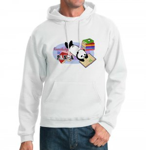 Kawaii Hoodie - Size L - White - Knowledge is Panda Sweatshirt