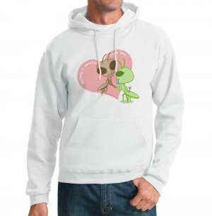 Kawaii Hoodie - Size M - White - Kawaii Valentine - Praying Mantis Sweatshirt