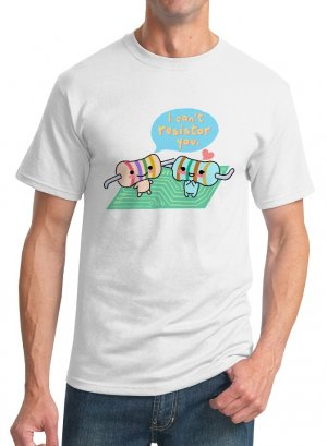 Kawaii T-Shirt - Size S - Unisex White - Resistors Physics Shirt