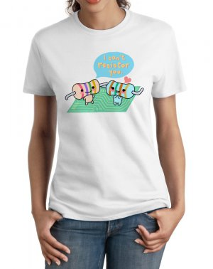 Ladies&#039; T-Shirt - Size S - White - Kawaii Physics - Resistors