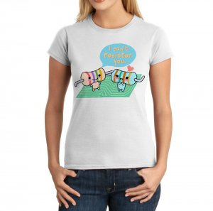 Junior Fit Ladies&#039; T-Shirt - Size L - White - Kawaii Physics - Resistors