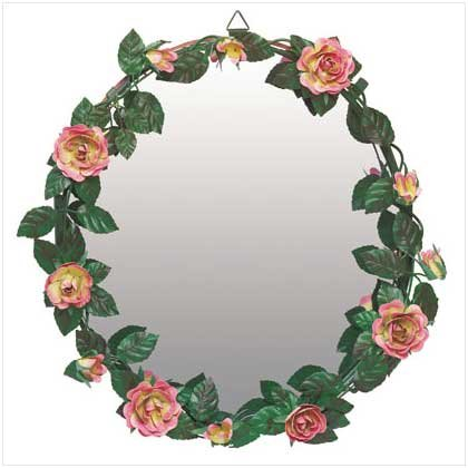Hand-Painted Rose Garland Mirror