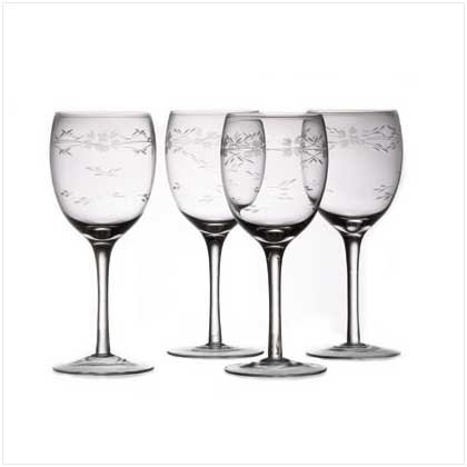 SET 4 ETCHED WINE GLASSES