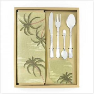 24 PC PALM TREE TABLE TOP SET