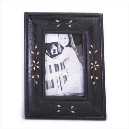 BRASS INLAY WOOD PHOTO FRAME
