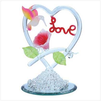 "SPUN GLASS HUMMINGBIRD ""LOVE"""