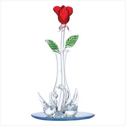 GLASS RED ROSE/VASE/LOVE SWANS