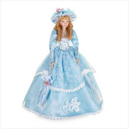"16"" PORC DOLL IN BLUE DRESS"