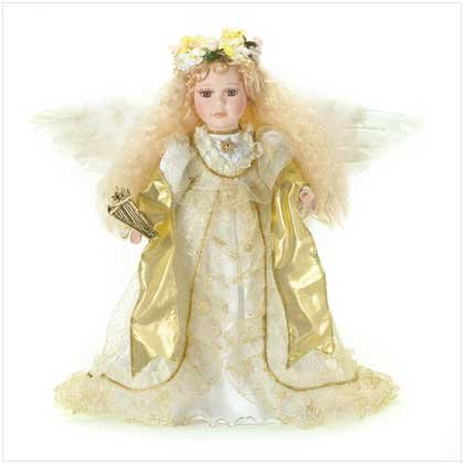 "16""H PORCELAIN ANGEL W/HARP"